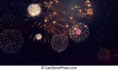 Colorful Fireworks Lighting Effect Loop Animation. Celebration Concept. Diwali festival lights. DIwali Holiday shiny background. birthday, Anniversary, Holiday, New Year, Party, Invitation, Wedding