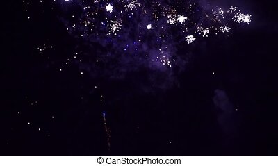 Colorful fireworks of various colors over night sky...