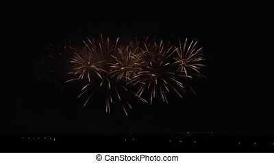 Colorful fireworks on black sky background stock footage...