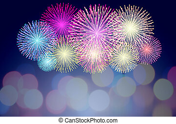 Colorful Fireworks on bokeh background