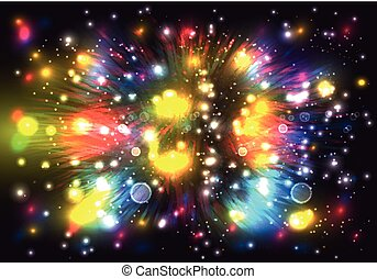 Colorful fireworks on dark background.
