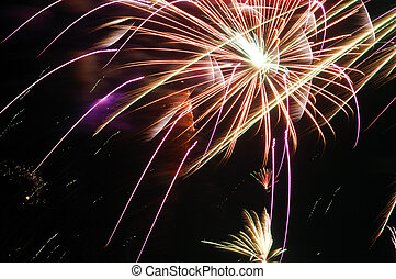 Colorful fireworks on dark sky