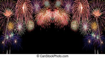 fireworks - colorful fireworks over dark sky background