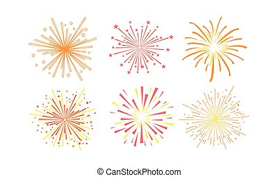 Colorful fireworks set, design element can be used for holidays, celebration party, anniversary or festival vector Illustration on a white background