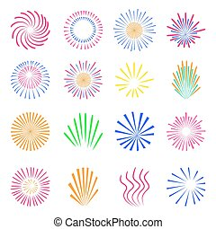 Colorful fireworks set isolated on white background.