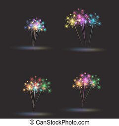 Colorful fireworks set. Vector illustration