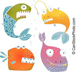 Colorful Fish Characters Cartoon Collection