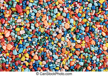 colorful fish tank gravel making a background