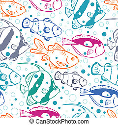 Colorful fish vector seamless pattern background - Vector...