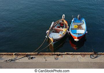 Colorful fisherman boats in marina, Elba, Tuscany, Italy