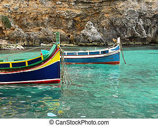 "Colorful fisherman's boat called ""Iuzzu"" tipical of Malta"