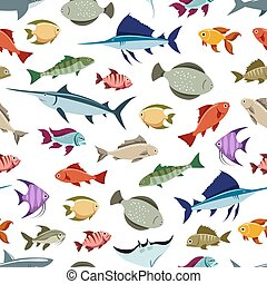 Colorful fishes seamless pattern