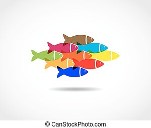 Flat fish icon - vector illustration.