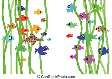 Colorful fishes with marine background, cartoon style.