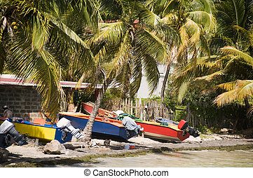 native colorful fishing boats on beach friendship bay la pompe in bequia island st. vincent and the grenadines