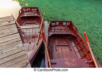 Boats on a quiet lake.