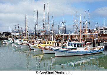 colorful Fishing boats in Fisherman Wharf San Francisco - ...