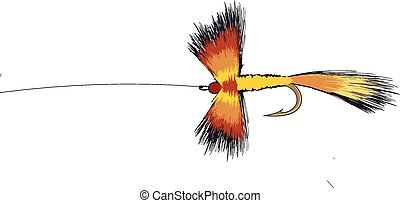 Colorful Fishing Fly Illustration with hook and line