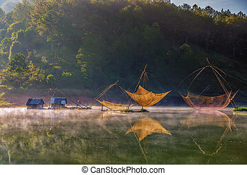 Colorful fishing net in a lake