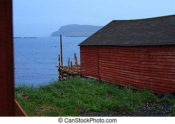 Colorful fishing shack