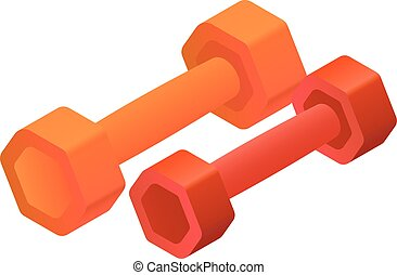 Colorful fitness dumbbell icon, isometric style