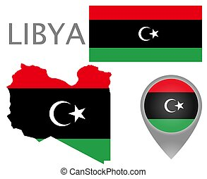 Colorful flag, map pointer and map of Libya in the colors of the Libyan flag. High detail. Vector illustration