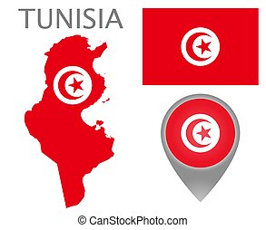Colorful flag, map pointer and map of Tunisia in the colors of the Tunisian flag. High detail. Vector illustration