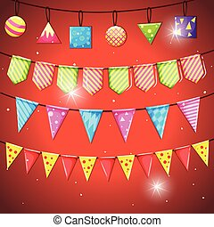 Colorful flags and ball on red background