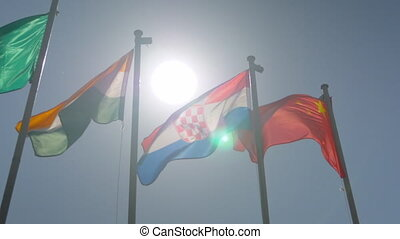 Colorful flags fluttering in the wind - super slow motion - politics concept