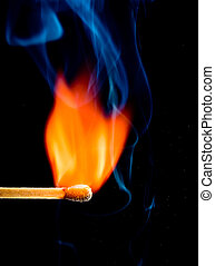 colorful flame with wooden matchstick,