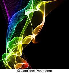 colorful flamy abstraction over black background
