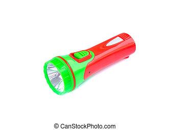 Colorful flashlight isolated on white