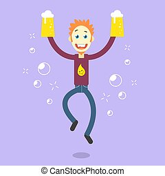 flat art cartoon illustration of a happy guy with beer -...