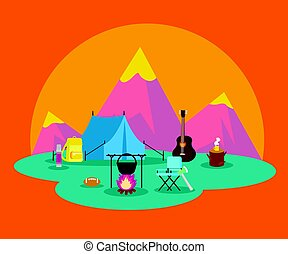 Colorful Flat Camping Concept