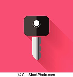 colorful flat design key icon