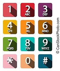 Flat Design Phone Dial Numbers Set