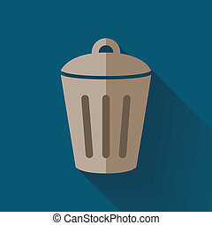 colorful flat design trash can icon