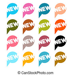 Colorful Flat Design Vector Stickers - Labels Set with New Title Isolated on White Background