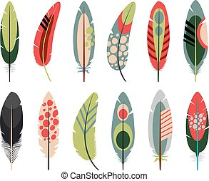 Colorful flat feathers icons set