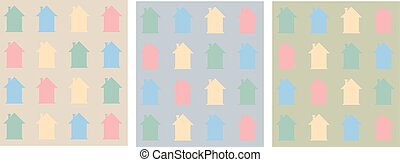 Colorful flat houses pattern.