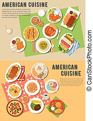 Colorful flat icon of american barbecue dinner - American...