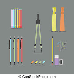 Colorful flat office stationery set