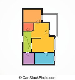 Colorful Flat Plan. Vector