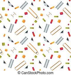 Colorful Flat Railroad Seamless Pattern