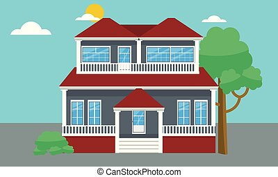 Colorful flat residential house or Town house cottage. Vector illustration.