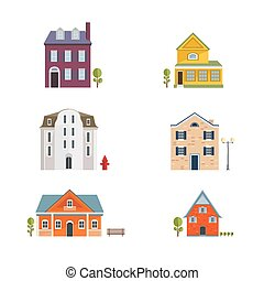 Colorful Flat Residential Houses. Flat House Icons and Symbols set.