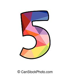 Colorful flat vector number 5 isolated on white background