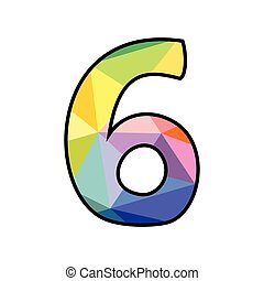 Colorful flat vector number 6 isolated on white background