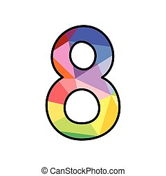 Colorful flat vector number 8 isolated on white background
