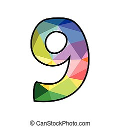 Colorful flat vector number 9 isolated on white background